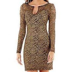 Bisou Bisou Sheath Metalic Lace Dress